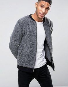 Read more about Asos jersey bomber jacket in fleece - grey