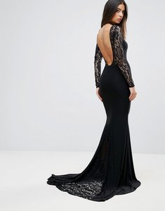 Read more about Club l maxi dress with lace panel detail - black