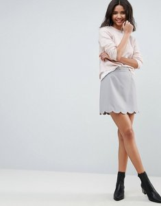 Read more about Asos tailored a-line mini skirt with scallop hem - silver