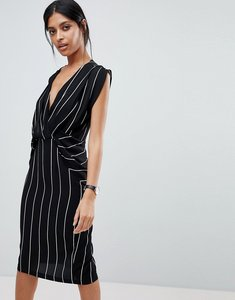 Read more about Asos stripe drape front midi dress - multi