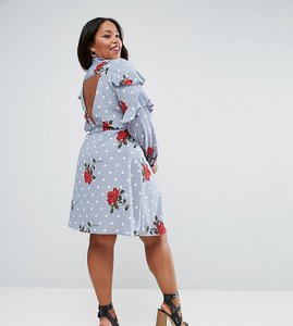 Read more about Asos curve ruffle front shirt dress in spot and floral print - multi