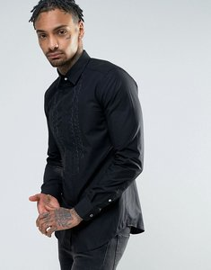 Read more about Diesel s-lucia embriodered ruffle slim fit shirt - black
