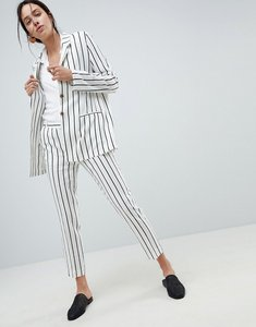 Read more about Asos design tailored linen longline relaxed blazer in stripe - stripe