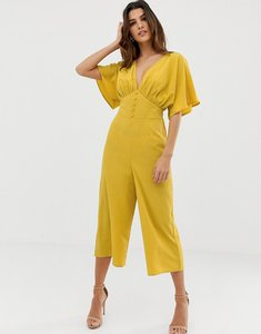Read more about Asos design tea jumpsuit with kimono sleeve and button detail - ochre