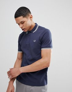 Read more about Fred perry slim fit twin tipped polo shirt blue - inky blue