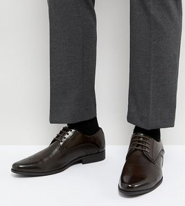 Read more about Asos wide fit derby brogue shoes in brown faux leather - brown
