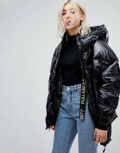 Read more about Pull bear black puffer ski jacket - black