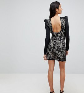 Read more about Asos tall lace bodycon puff sleeve mini dress - black