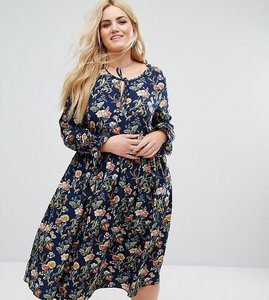 Read more about Alice you long sleeve floral midi dress with frill sleeve and tie neck - multi