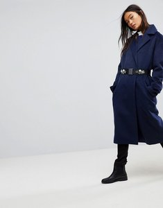 Read more about Asos double breasted coat with brooch belt - navy
