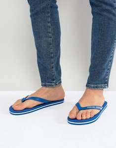 Read more about Armani exchange logo flip flops in blue - 13134