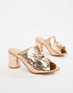 Read more about Glamorous metallic heeled mule - rose gold
