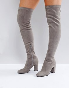 Read more about Raid nada grey block heel over the knee boots - grey suede