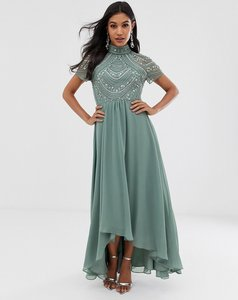 Read more about Asos design maxi dress with short sleeve embellished bodice