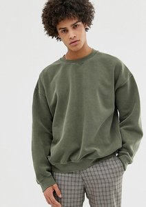 Read more about Reclaimed vintage inspired oversized sweatshirt in khaki overdye - khaki