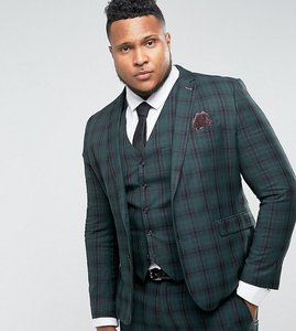 Read more about Harry brown plus skinny tartan suit jacket - green