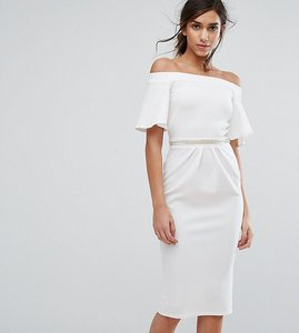 Read more about Silver bloom bandeau midi dress with fluted sleeve and embellished waist - ivory
