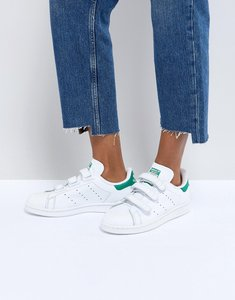 Read more about Adidas originals white and green velcro stan smith trainers - white