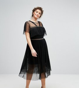 Read more about Truly you tulle ruffle dress with eyelet detail - black