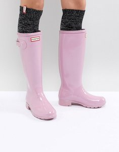 Read more about Hunter original tall pink gloss wellington boots - blossom