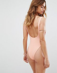 Read more about Motel crinkle low back swimsuit - peach textured
