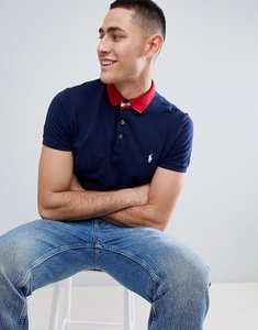 Read more about Polo ralph lauren contrast collar pique polo tipped cuff custom regular fit in navy red - navy