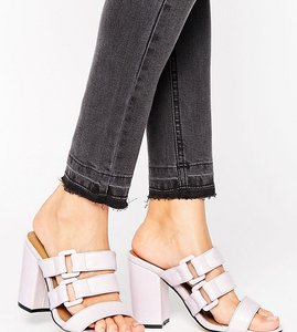 Read more about The march buckle strappy mid heeled mules - light pink