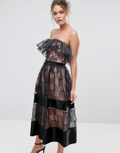 Read more about True violet ruffle 3d texture strapless midi dress - black