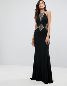 Read more about Jovani fishtail maxi dress with cut out lace detail - black