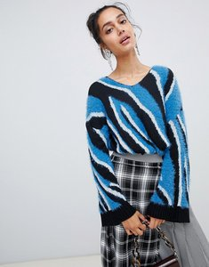 Read more about Lost ink tunic jumper in zebra intarsia