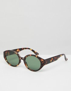 Read more about Asos fine frame oval sunglasses in tort - brown