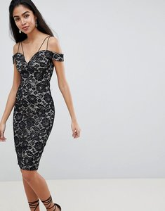 Read more about Ax paris off shoulder lace pencil dress - black