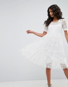Read more about Needle thread tulle embroidery dress - ivory