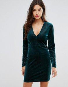 Read more about Ivyrevel deep v pleated velvet mini dress - teal