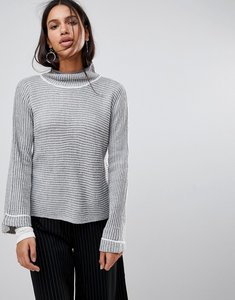Read more about Qed london striped high neck jumper - grey