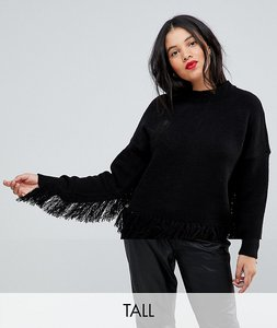 Read more about Y a s tall fringe detail jumper - black