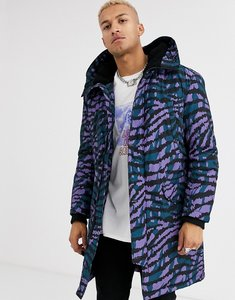 Read more about Asos design hooded parka jacket in purple tiger print