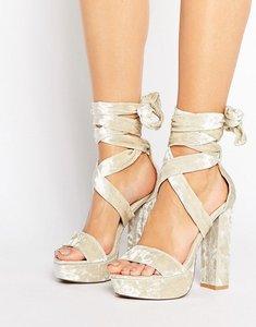 Read more about Public desire adrina crushed velvet tie up platform heeled sandals - grey crushed velvet