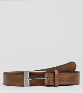Read more about Asos plus smart slim leather belt in vintage brown finish and burnished edges - brown