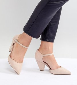 Read more about Asos design speaker extra wide fit pointed heels - nude