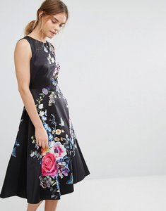 Read more about Oasis floral embroidered midi skater dress - black