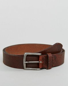 Read more about Asos leather slim belt in brown with vintage finish - brown