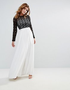 Read more about Club l high neck maxi dress with contrast crochet lace - black and white