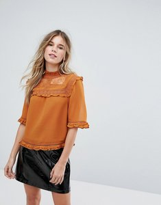 Read more about New look lace frill blouse - rust