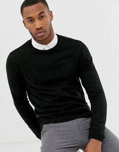 Read more about Asos design knitted crew neck jumper in black - black