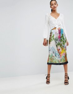 Read more about Asos satin pleated midi skirt in scenic print - multi