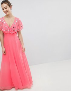 Read more about Asos design wrap maxi dress with embellished flutter sleeves