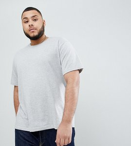 Read more about Badrhino big basic short sleeve t-shirt in silicon wash with logo in grey - grey marl
