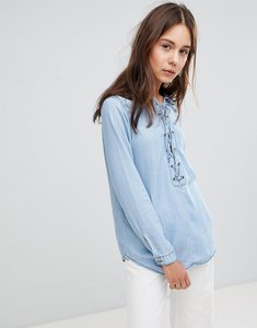 Read more about Glamorous lace up top - light blue chambray
