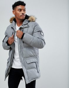 Read more about Good for nothing parka in reflective with faux fur hood - grey